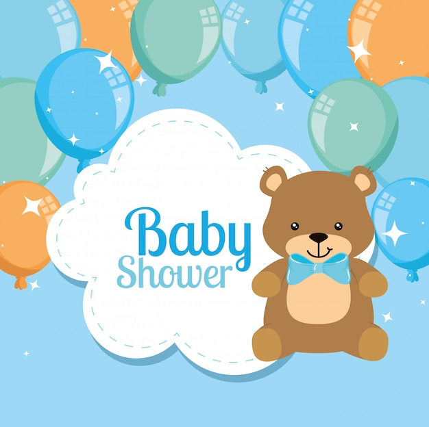 Baby shower card with cute bear and balloons helium