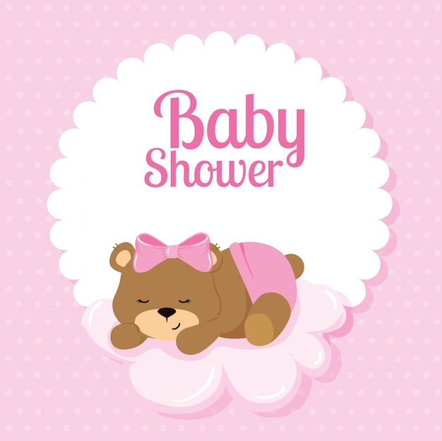 Baby shower card with cute bear and cloud