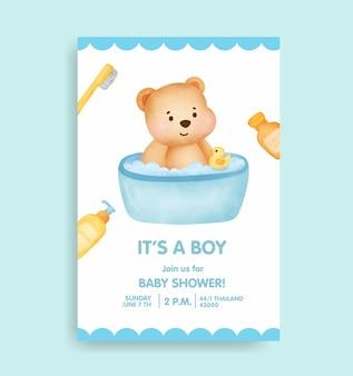 Открытка на рождение ребенка с милым медведем