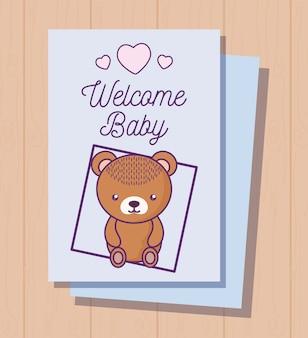 귀여운 곰과 함께 베이비 샤워 카드