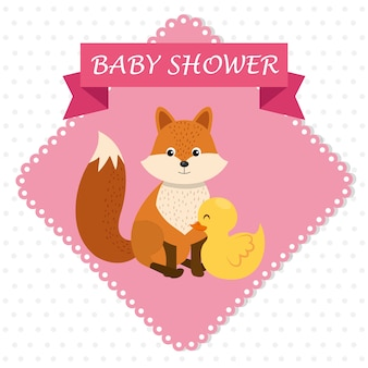 Baby shower card with cute fox and duck