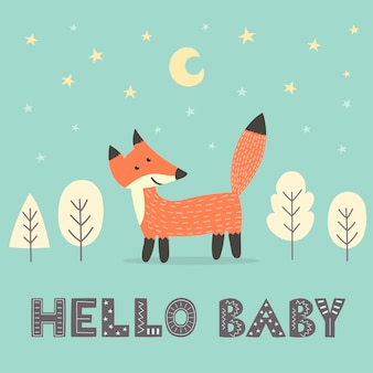 Baby shower card with a cute fox and with text