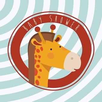 Baby shower card with cute jiraffe