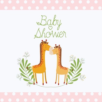 Baby shower card with cute jiraffes couple