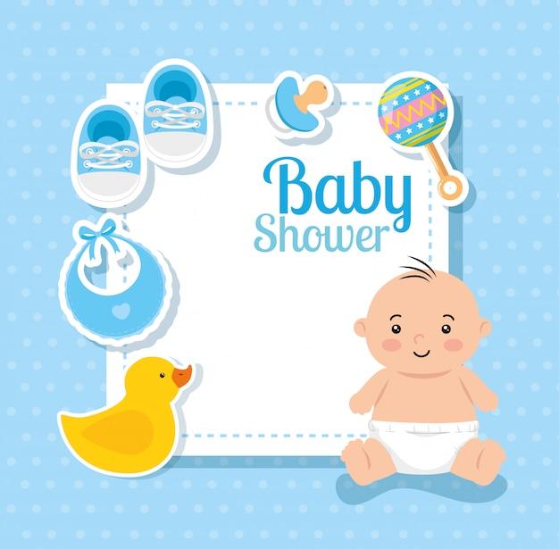 かわいい小さな男の子と装飾のベビーシャワーカード