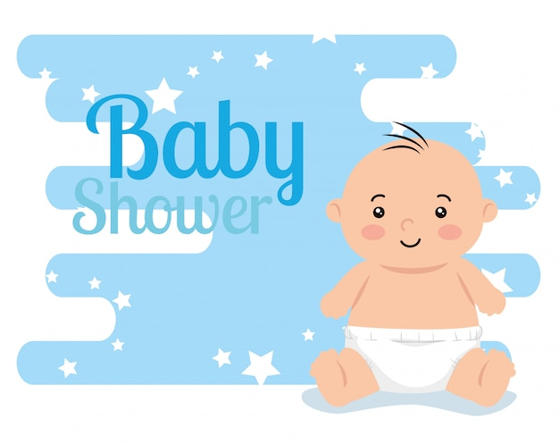 Baby shower card with cute little boy and decoration
