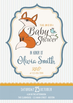 Baby shower card with cute little fox