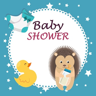 Baby shower card with cute porcupine and duck