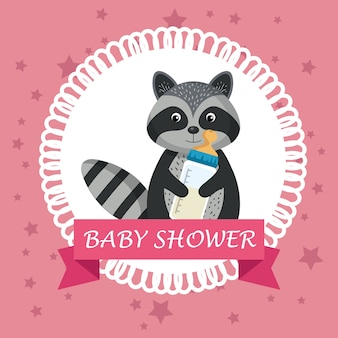 Baby shower card with cute raccoon