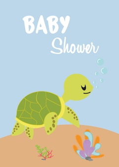 Baby shower card with cute sea turtle vector.