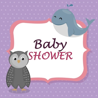 Baby shower card with cute whale and owl