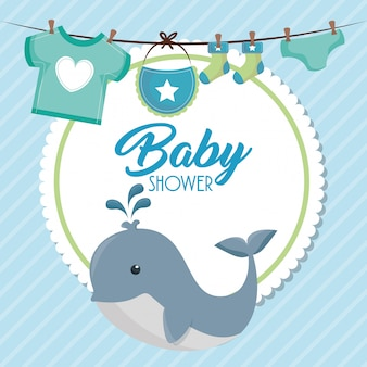 Baby shower card with cute whale