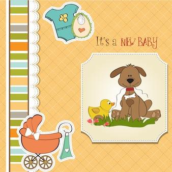 犬とアヒルのおもちゃを持つベビーシャワーカード