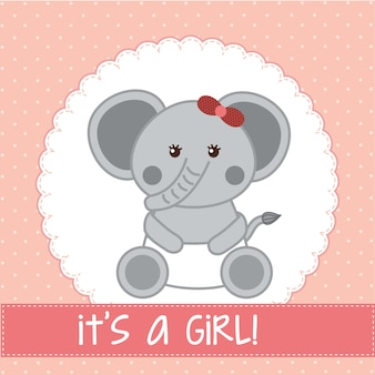 분홍색 배경 벡터에 코끼리와 함께 베이비 샤워 카드