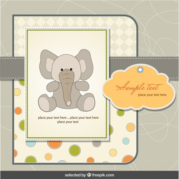 Baby shower card with elephant in scrapbook style