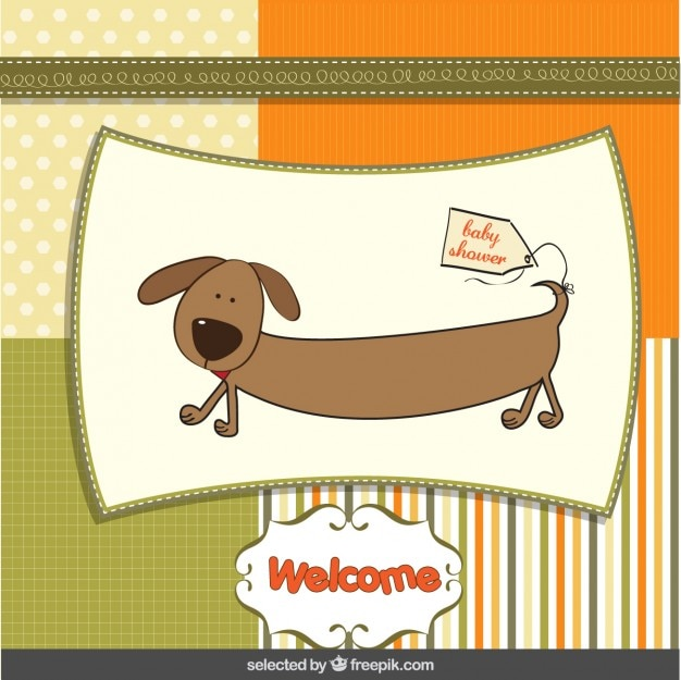 Baby shower card with funny dog in scrapbook style