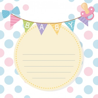 Baby shower card with garlands hanging