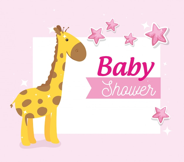 Baby shower card with giraffe and stars decoration