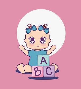 Открытка на празднование появления ребенка с девочкой и алфавитными блоками