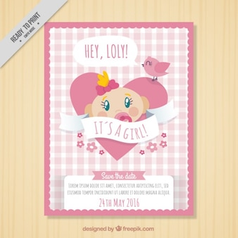 Baby shower card with a girl inside heart