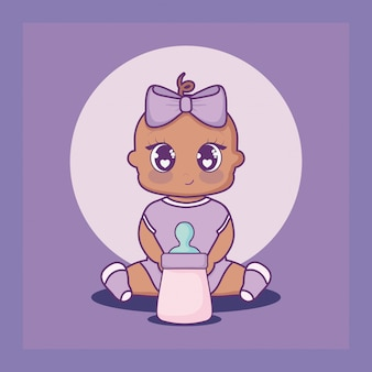 Baby shower card with girl and milk bottle