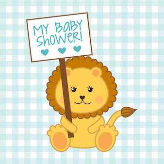 Baby shower card with lion over blue background vector