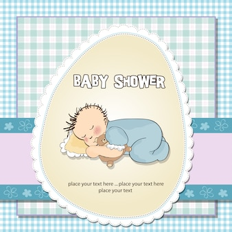 Baby shower card with little baby boy sleep
