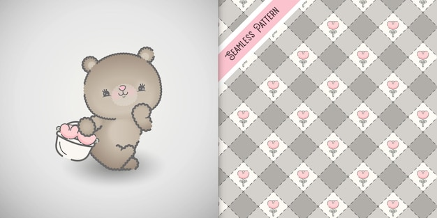 Baby shower card with little bear character and floral pattern