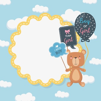Baby shower card with little bear teddy and balloons helium