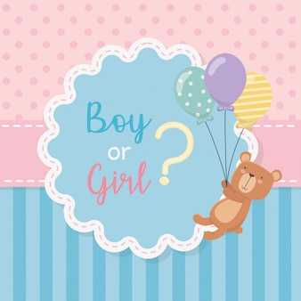 Baby shower card with little bear teddy with balloons helium