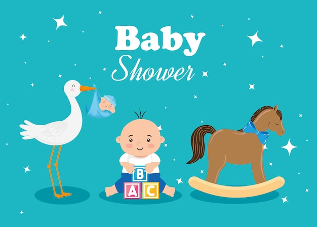 Baby shower card with little boy and decoration