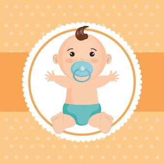 Baby shower card with little boy