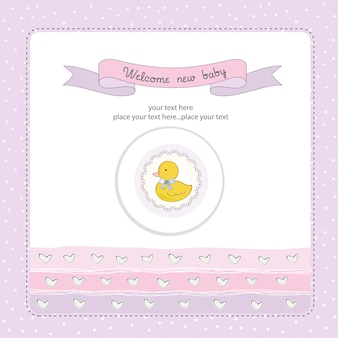 Baby shower card with little duc
