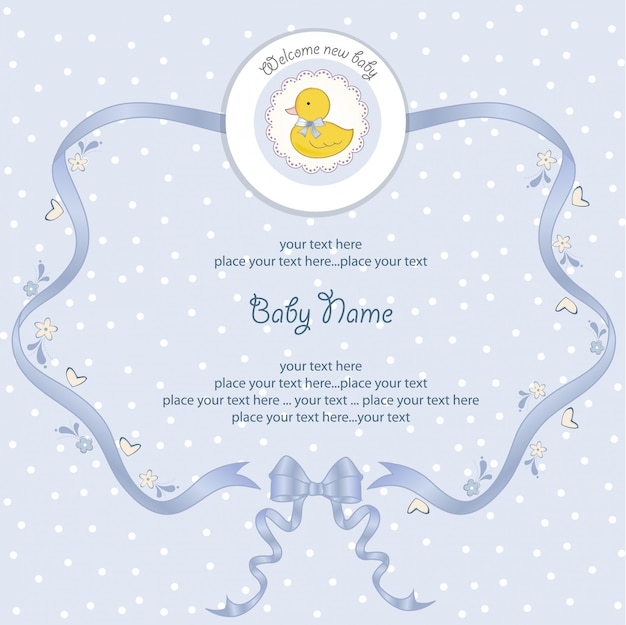 Baby shower card with little duck