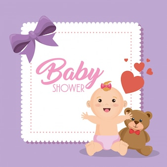 Baby shower card with little girl