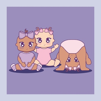 Baby shower card with little girls