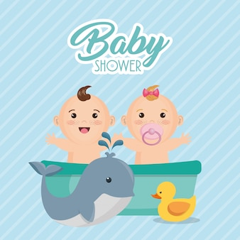 Baby shower card with little kids