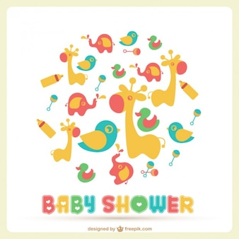 Baby shower card with a lot of toys