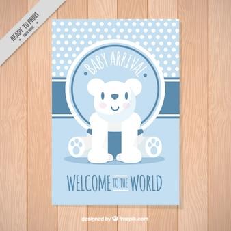 Carta di bambino con un orso bello