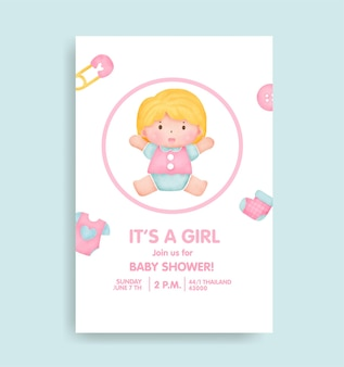 Baby shower card with lovely elements.