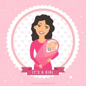 어머니와 아기와 함께 베이비 샤워 카드