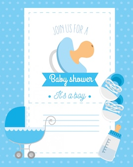 Baby shower card with pacifier and decoration