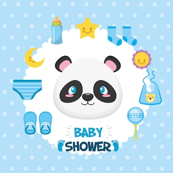 Baby shower card with panda bear and icons