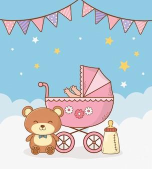 Открытка на рождение ребенка с розовой тележкой