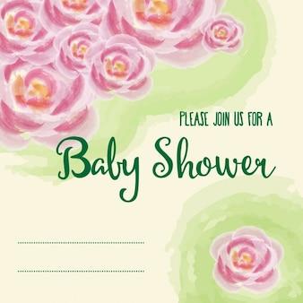 핑크 수채화 꽃으로 베이비 샤워 카드