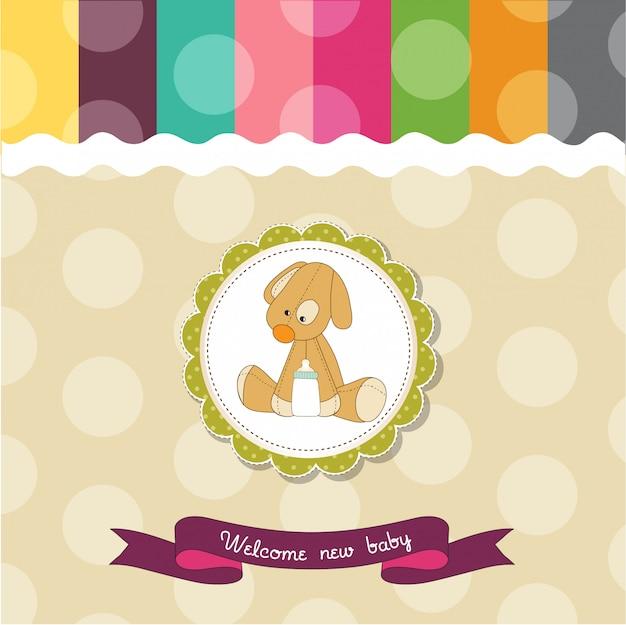 子犬とベビーシャワーカード