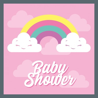 Baby shower card with rainbow
