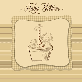 Baby shower card with retro toys