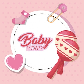 Baby shower card with set icons