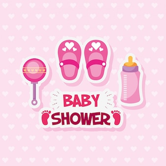 Baby shower card with shoes and accessories